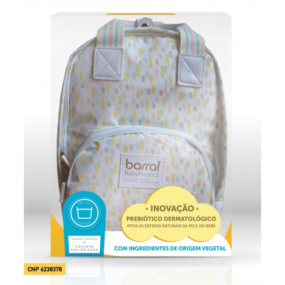 BARRAL BABYPROTECT MOCHILA + CREME BANHO + CREME HIDRATANTE COM DESCONTO DE 15%