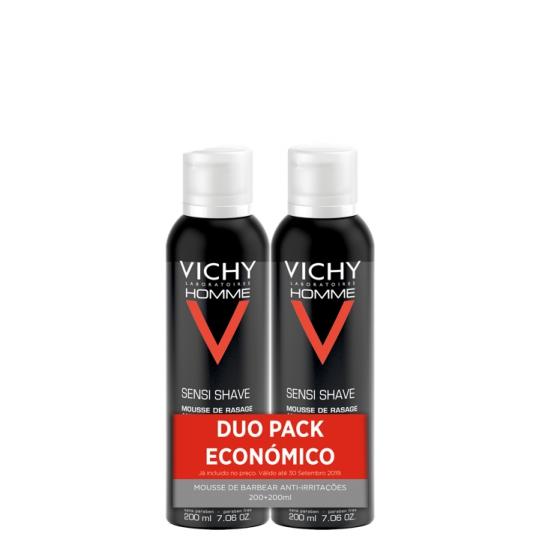 VICHY HOMME SENSI SHAVE DUO MOUSSE 2 X 200 ML COM DESCONTO DE 2.5€